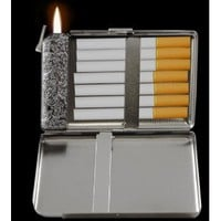 Supreme 2 in 1 Cigarette Case with Built in Lighter # 38 (For Kings Size Cigarettes)