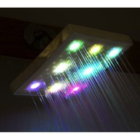 LED Shower Head Color Changing Chrome Bathroom Bath Rain Style Water Saving