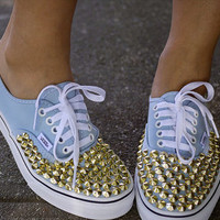 WEEKEND SALE Gold/Silver studded vans by TyeDyeLand on Etsy