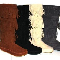 Women&#x27;s Faux Suede Moccasin Fringe Mid Calf Boots in Black, Camel, Grey, Beige