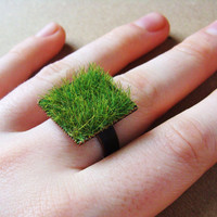 Green Grass Ring in Copper Adjustable Band Square