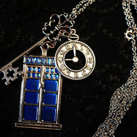 Doctor Who Tardis Charm Necklace w/ Large Silver Key & Clock or Union Jack