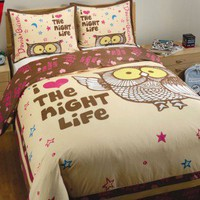 David &amp; Goliath Night Life Duvet Collection in Cream and Brown - Night Life Duvet Collection in Cream and Brown - All Bedding Sets - Bedding Sets - Bed &amp; Bath