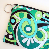 Limeade Paisley Small Zipper Pouch with keyring and by hmmmbymel