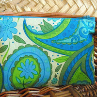 Paisley Print in Greens Mini Zipper Pouch by thepurplehedgehog