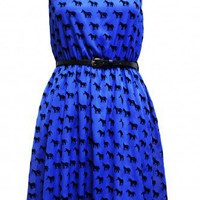 Madam Rage Blue Zebra Flock Dress