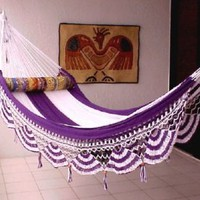 Nicamaka Couples Hammocks - Purple/White 5 Stripe: Patio, Lawn & Garden