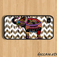 IPHONE 5 CASE - Aztec Elephant with chevron on wood - iPhone 4 case,iPhone 4S case,iPhone caseHard Plastic Case Rubber Case