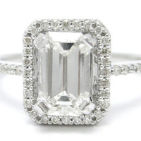 200ctw EMERALD cut ANTIQUE style diamond by ninaellejewels on Etsy