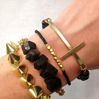 Gold Cross Boho Bracelet Set in Black and Gold