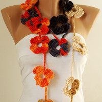 Flower Scarf, Handmade Crochet , Grey, orange, red and cream mix tones, Flower Lariat, Scarf, Necklace