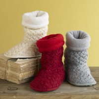Hand-Knit Wool Slipper Booties - VivaTerra