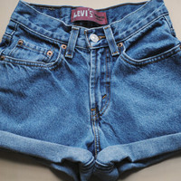 Vintage Levi High Waisted Denim Cuffed Shorts