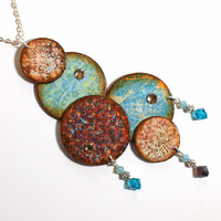 Statement Necklace Decoupaged Circles Pendant Necklace by rrizzart