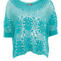 Apricot Turquoise Sunflower Crochet Top
