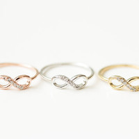half crystal infinity rings, eternity rings, jewelry, jewelry rings,anniversary ring,crystal rings,best friend rings, love rings