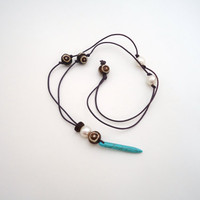 turquoise spike necklace leather beaded necklace beach by BeaKez