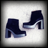 90's Black Suede Leather Chunky Heel Platform Ankle Booties Size 6.5-7