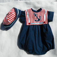 Sailor Style Baby Boy Romper matching Sailor Hat by ItsSommertime