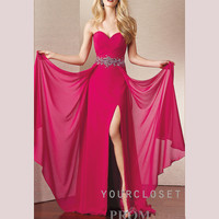 Sweetheart elegant beading chiffon floor-length dress