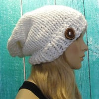 Slouchy Beanie Hat Bright White Multicolor Sparkle Oversized Woodsy With Wood Button