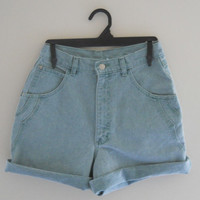 High Wasted Jean Shorts Green Denim Shorts High Waist Shorts Highwaist Shorts Highwaisted Shorts Colored Denim Shorts Denim Cuffed Shorts