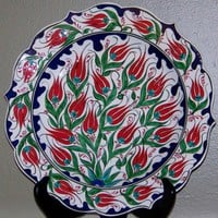 "Turkish/Ottoman Iznik Red Tulip 12"" Handmade Ceramic Plate"