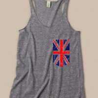 British Pocket Womens Tri-Blend tank in gray Size S