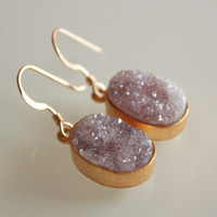 Rough Mauve Agate Druzy Earrings