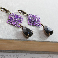 Purple Earrings, Black Vintage Glass, Patina Filigree Drops, Unique Dangle Earrings, Spring Jewelry, Metal Lace, Violet, Lavender