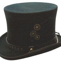 Steam-Punk Top Hat Mens Australian Wool Satin Lined S-XLNew