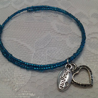 Turquoise Glass Bead Memory-Wire Bracelet with Imagine & Heart Charms