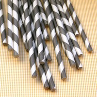 Grey Striped Paper Straws 25