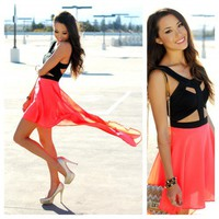 The Cut Out Dress in Neon Orange | shopLUVB.com