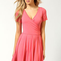 Asheley Wrap Over Cap Sleeve Skater Dress