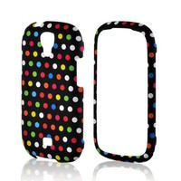 Rainbow Polka Dots on Black Rubberized Hard Case for Samsung Stratosphere 2