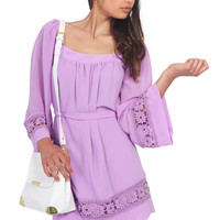 Purple Long Sleeve Dress with Floral Crochet Sleeves&Hem