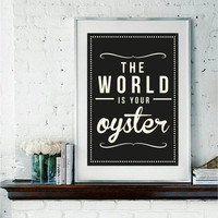 Retro Inspirational Oyster Black Print by RockTheCustardPrints