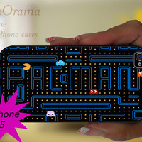 Retro iPhone 5 rubber case -  Pac Man iPhone 5 case, iPhone 5 cover, iPhone hard rubber case pacman