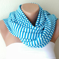 Blue Stripe Scarf Jersey Scarf Cotton Scarf..