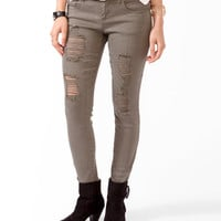 Stretchy Destroyed Denim Skinnies | FOREVER21 - 2018440395
