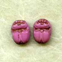 Vintage Pink Glass Painted Scarab Beads by picklevalentine on Etsy