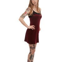Vintage Deep Red Velvet Mini Dress
