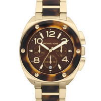 Michael Kors Mid-Size Tribeca Chronograph Watch, Golden/Tortoise - Michael Kors