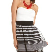 Layered Stripe 2-Fer Tube Dress: Charlotte Russe