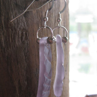 Lavender Earrings recycled depression by BoozyBaublesGlassArt
