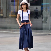 Blue Casual Big Pockets Long Skirt NC021 by Sophiaclothing