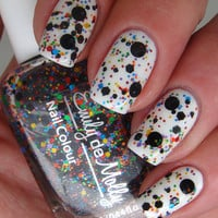 "Nail polish - ""Abstract canvas"" black and multi coloured glitter - new 12ml bottle"