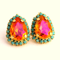 Pink Orange and Turquoise Crystal big teardrop stud earring - 14 k plated gold post earrings real swarovski rhinestones .