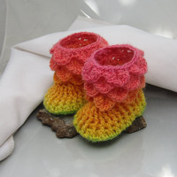 Buttonless Baby Booties for 0-6 months Crocodile Stitch Booties Bright Cherry Reds, Golden Yellow and a Touch of Green